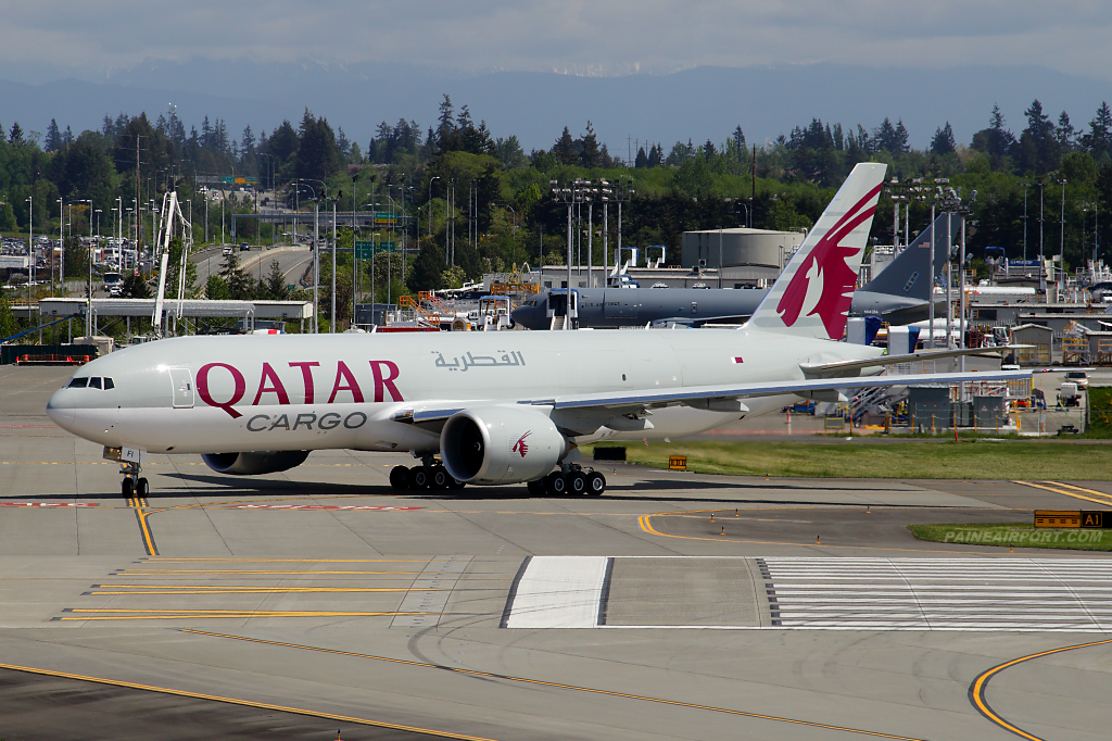 Qatar Airways 777F A7-BFI at Paine Airport