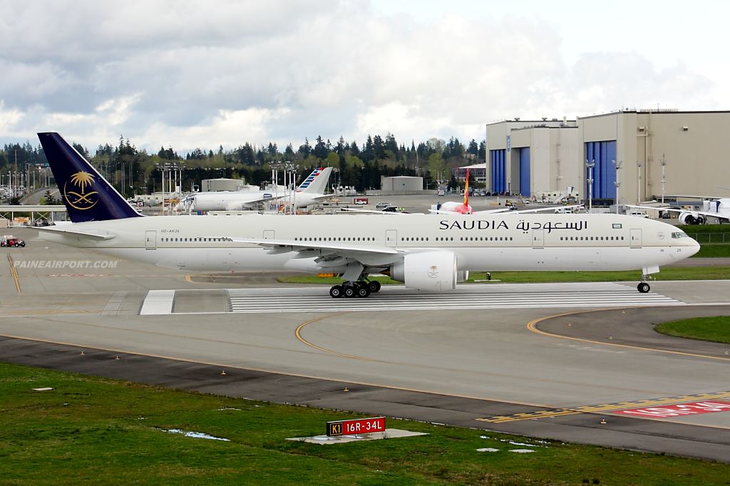 Saudi Arabian Airlines 777 HZ-AK26 at Paine Field