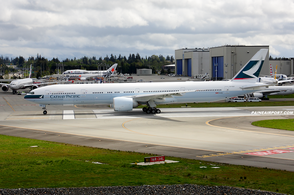 Cathay Pacific 777 B-KQX at Paine Airport