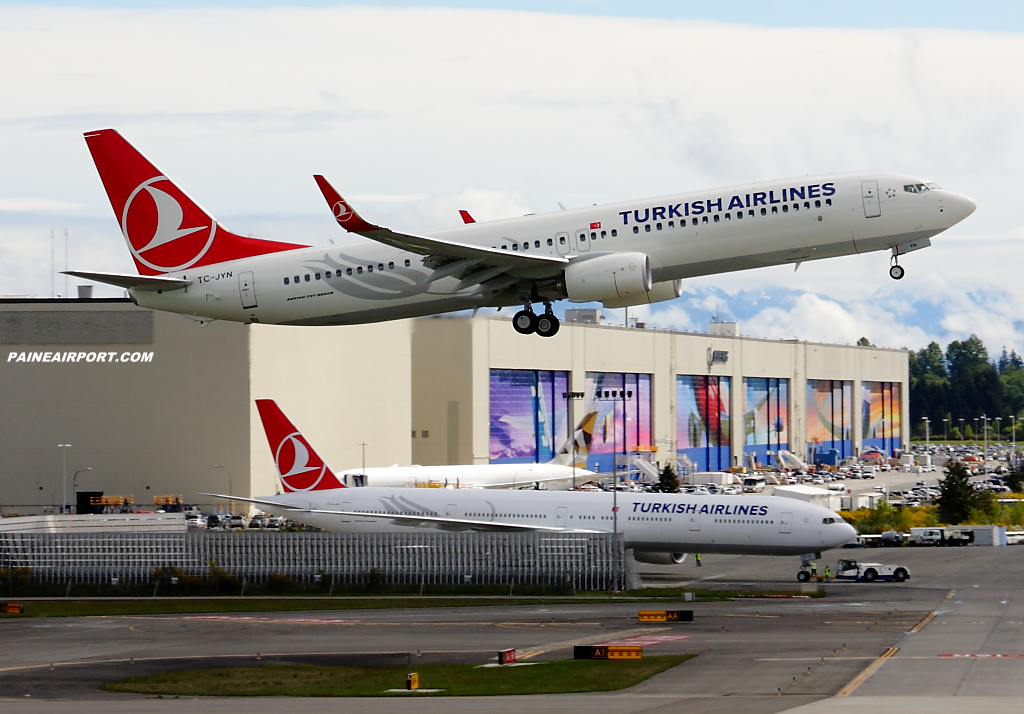 Turkish Airlines 737 TC-JYN at Paine Airport