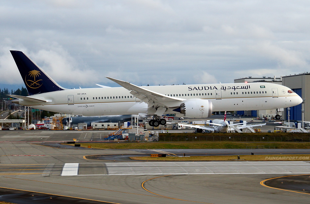 Saudia 777 HZ-ARA at Paine Airport