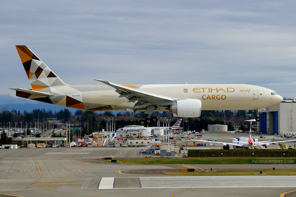 Etihad Cargo 777F A6-DDD at Paine Airport