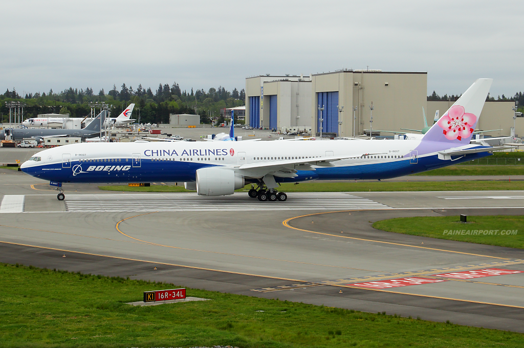 China Airlines 777 B-18007 at Paine Airport
