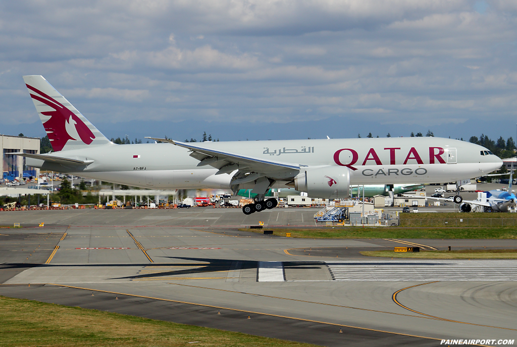 Qatar Cargo 777F A7-BFJ at Paine Airport