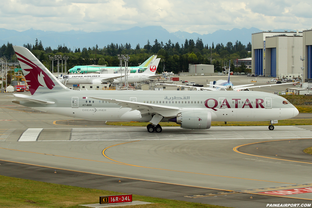 Qatar Airways 787-8 A7-BDD at Paine Airport